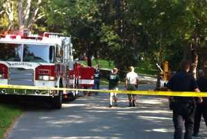 A worker in a bucket truck was shocked outside a home in Holliston Tuesday morning.