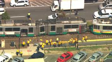 A Green Line trolley appeared to jump the tracks atCoolidge Corner Tuesday morning.