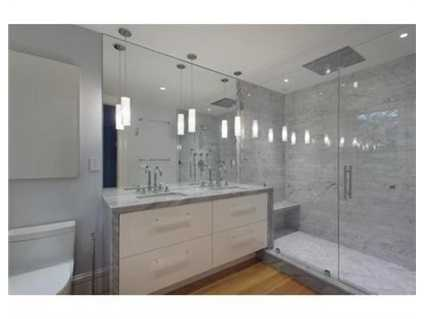 A large walk-in shower.