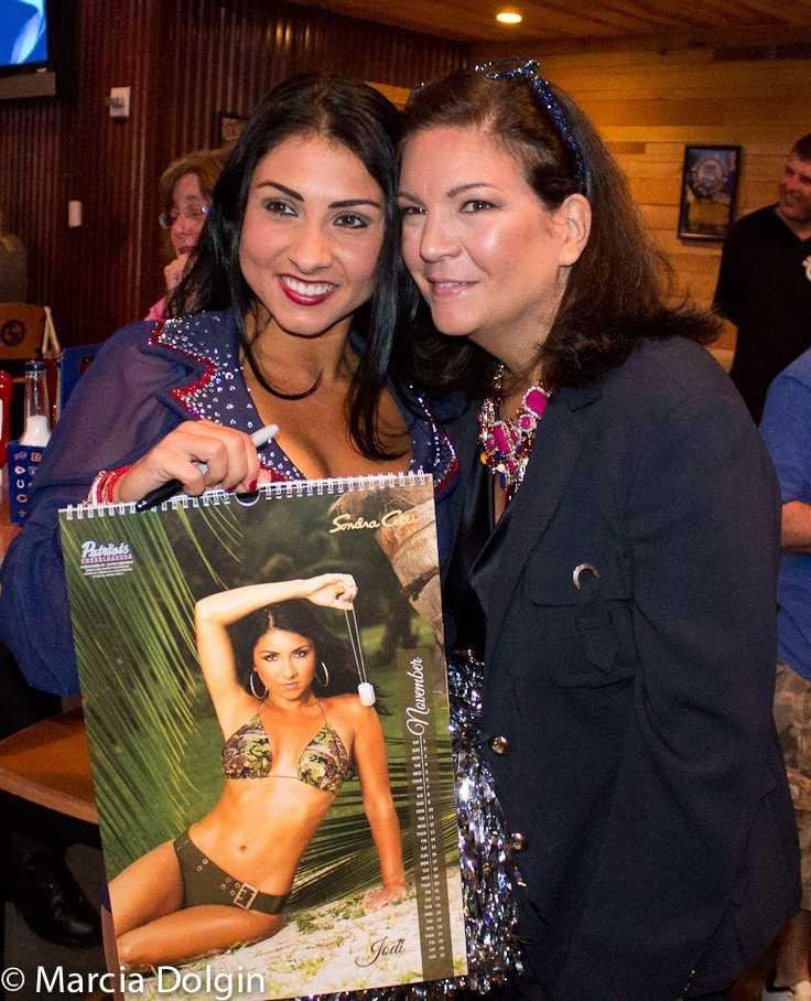 Sondra also created a crystal-packed camo bikini for inclusion in the 2014 New England Patriots Cheerleader Calendar.