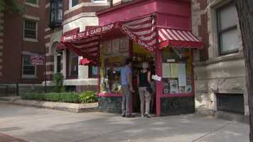 Her shop, Irving's Toy and Card Shop, is an institution on Harvard Street.