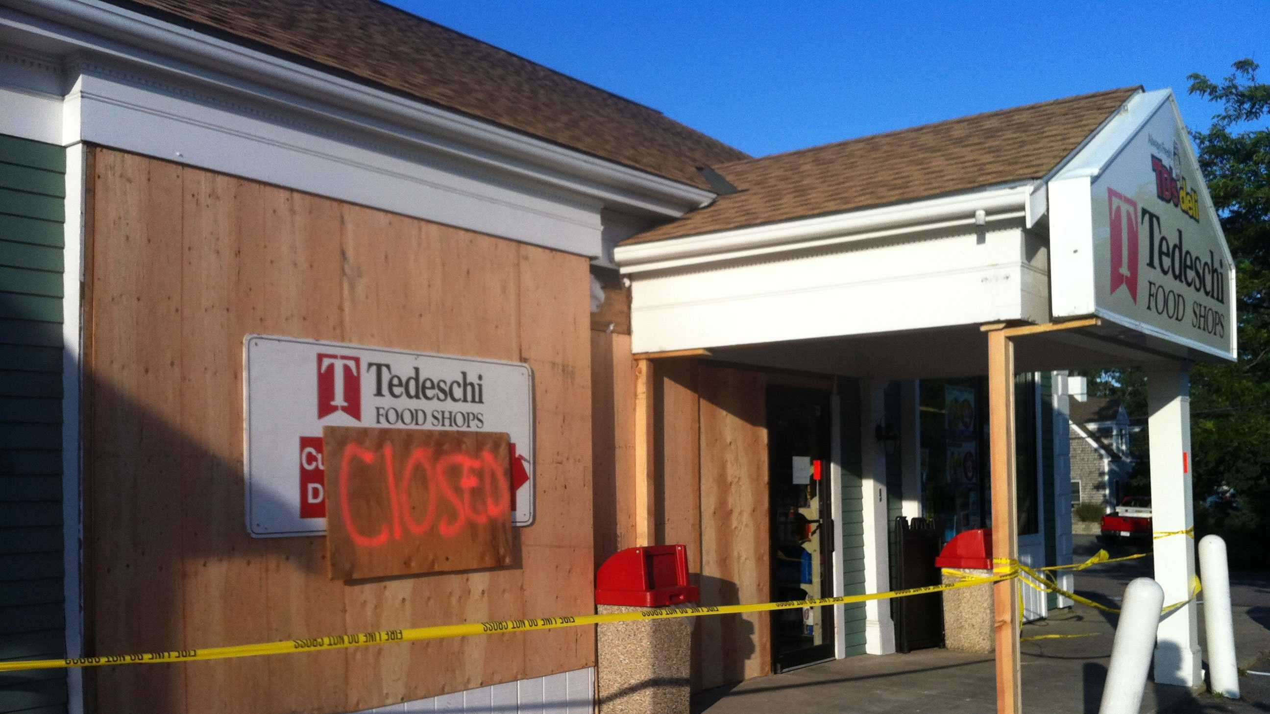 The Tedeschi's on Route 28 in West Dennis remained closed Sunday, Aug. 25, 2013, after being hit by a pickup truck earlier in the day.