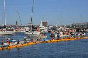 Dozens of boats and kayaks surrounded the ICA building for Sunday's competition.