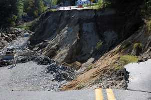A 65-foot-deep highway wash-out that followed Hurricane Irene in Vermont, seen here Sept. 12, 2011.
