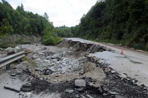 Damage to U.S. Highway 4 after Hurricane Irene, seen here on Sept. 2, 2011, closed one of Vermont's main east-west arteries.