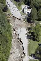 In this Tuesday, Aug. 30, 2011 photo, destruction on Route 4 from Tropical Storm Irene is seen in Killington, Vt.