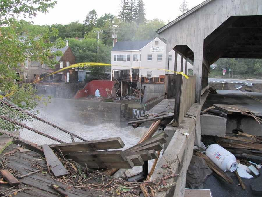 Photo of the back side of Simon Pearce, Quechee Associates office and what is left of the bridge.