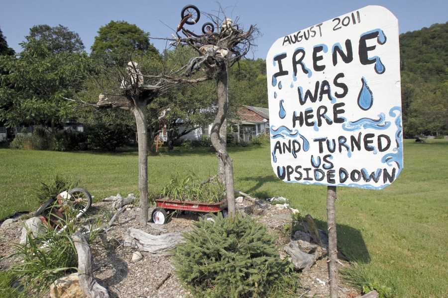 A sign remembers Tropical storm Irene in East Granville, Vt.