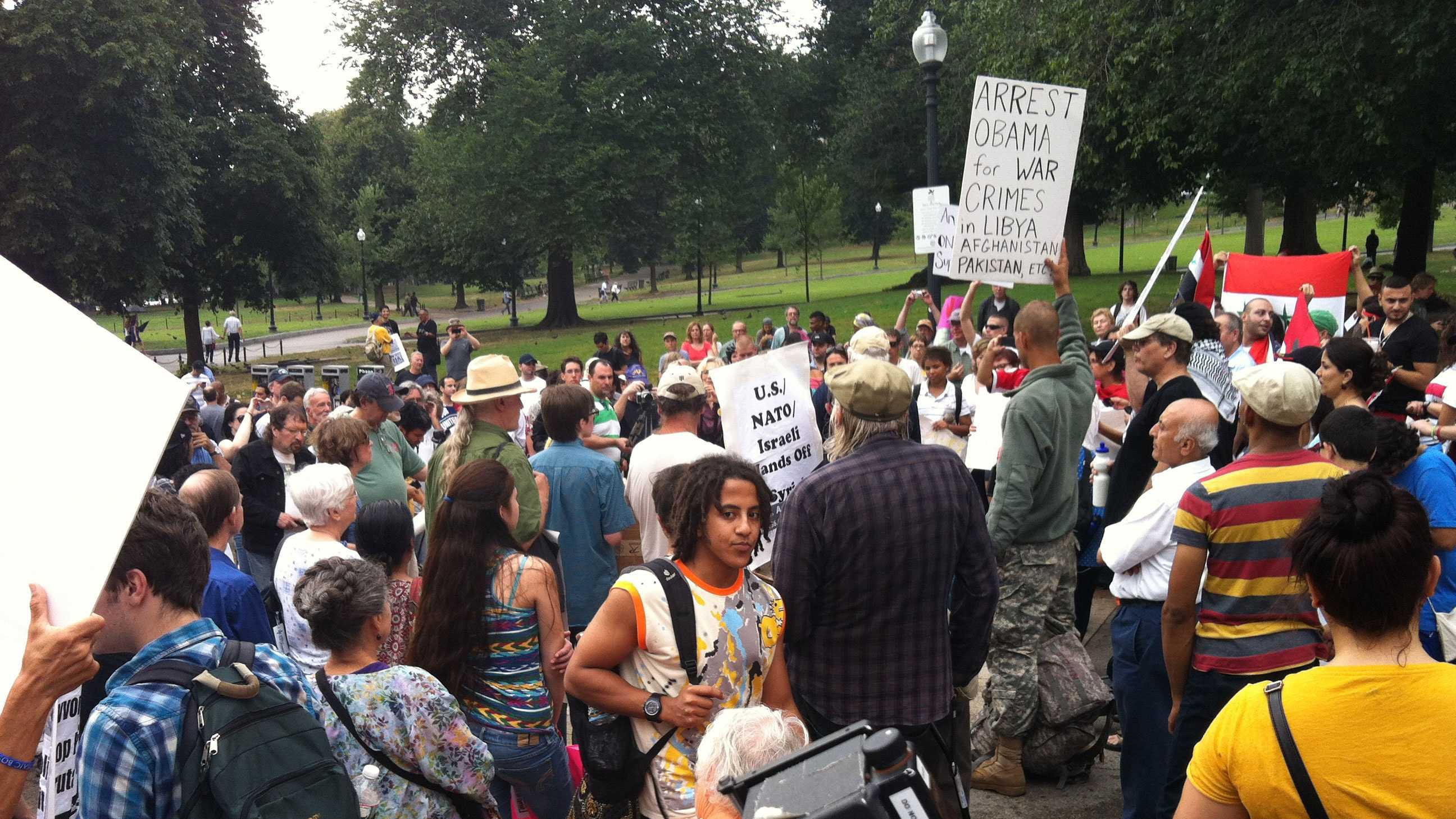 Protesters opposing U.S. and NATO military action in Syriarally on Boston Common on Aug. 31, 2013.