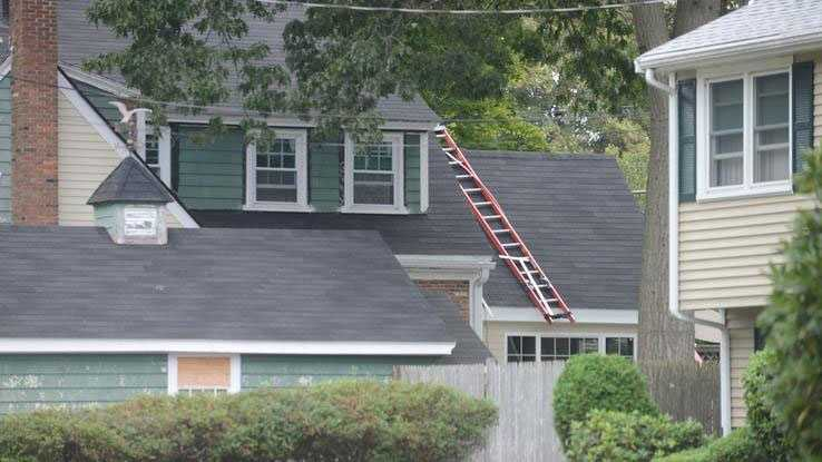 The Brockton home where Thomas Hyland fell off a roof.