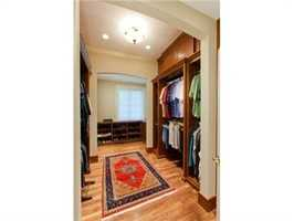His and her walk-in closets.