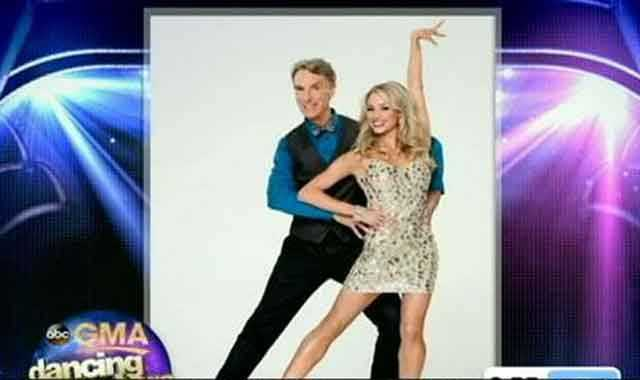 Bill Nye the Science Guy dancing with Tyne Stecklein