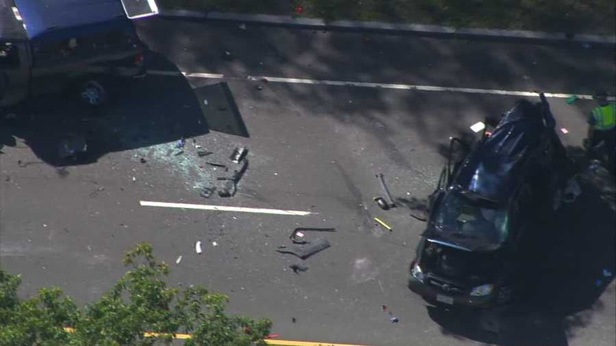 At least two vehicles were involved in the crash.