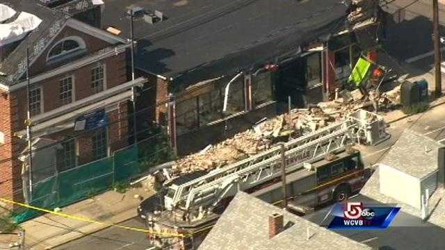 A section of a building in Somerville collapsed Monday morning.