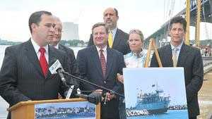 Mayor Will Flanagan announces the first run of the Fall River to Block Island Ferry during a press conference in May 2012 on the State Pier.