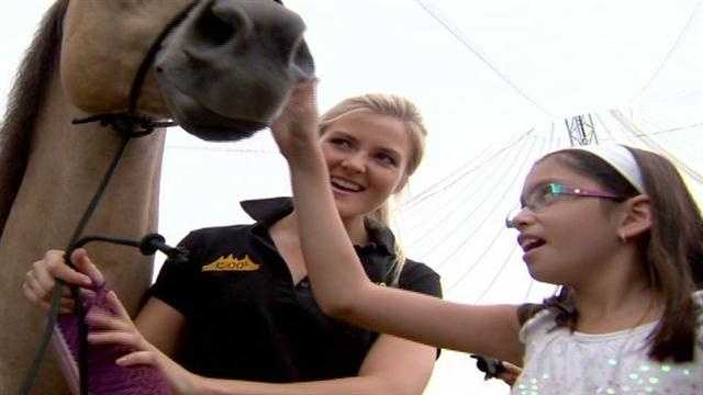 This was a big day for kids from the Carroll Center for the Blind as they got a hands-on tour of one of the world's premier equestrian shows.