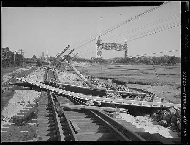 Railroad tracks along the Cape Cod Canal