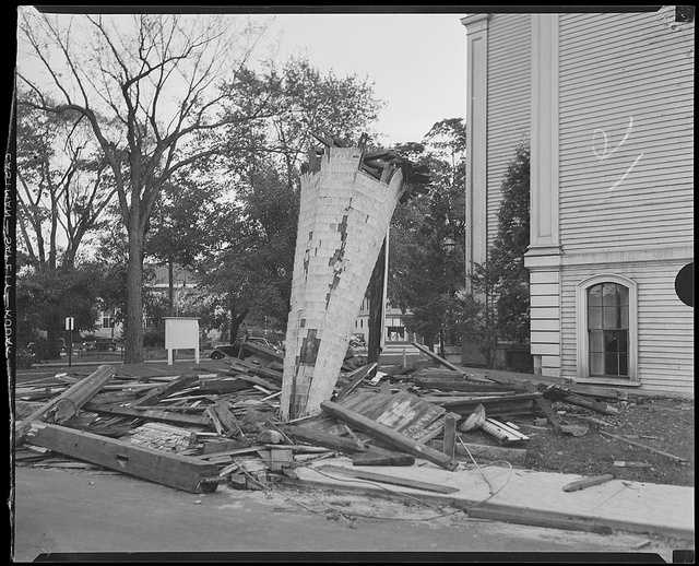 The storm destroyed scores of church steeples across the region -- including this one that was thrown to the ground like a javelin.