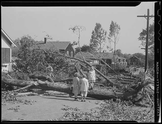 The eye of the storm followed the Connecticut River north into Massachusetts, where the winds and flooding killed 99 people.
