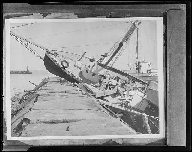This boat was tossed up onto the breakwater on Block Island.