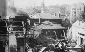 Damage at Worcester's First Unitarian Church.