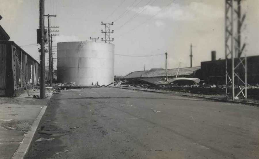 This giant oil tank was pushed into the middle of the road in East Providence.