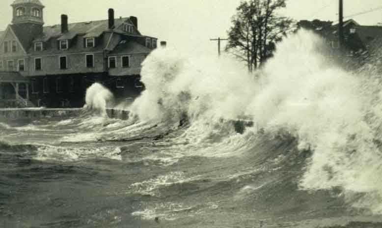 Waves crash at Woods Hole