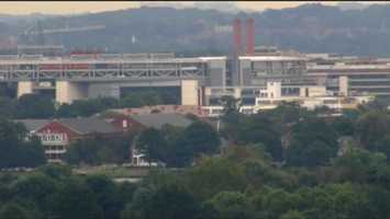 The Navy Yard is located next to Washington Nationals baseball park, which can be seen in the distance in this image.