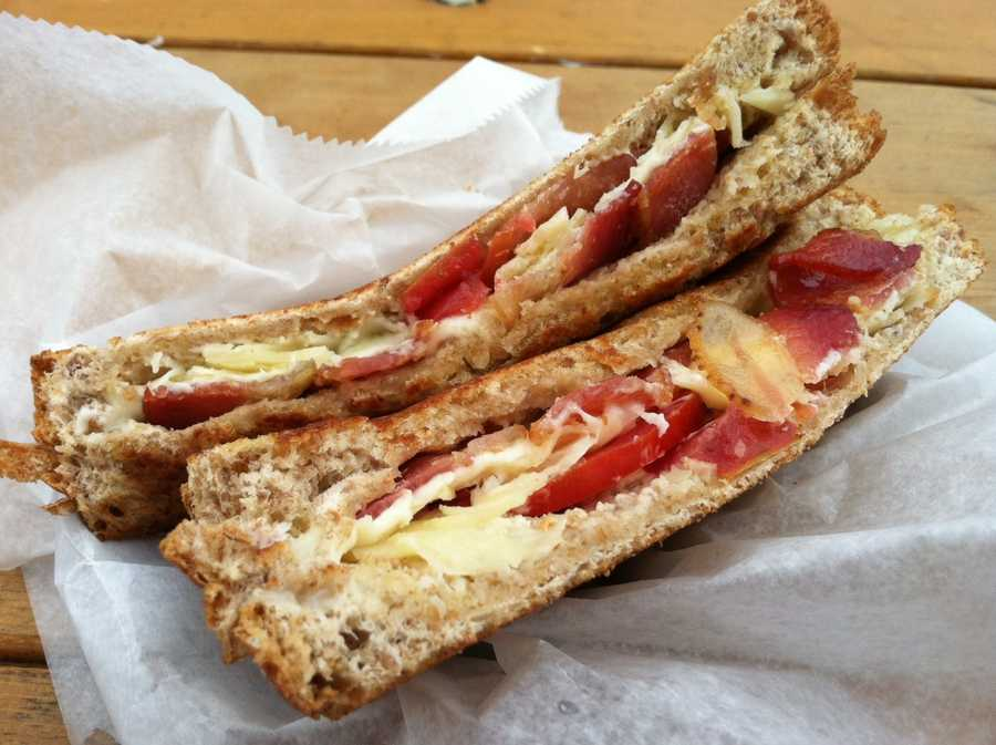 Horseradish, cheddar, bacon, tomato grilled cheese