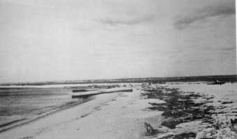 Fort Road after.  42 cottages were wiped off the beach including the bathing pavilion of the Watch Hill Beach Club. The area was not rebuilt and is now a wildlife refuge.The Blue Hill Observatory is hosting a commemorative event on the Hurricane of 1938 on Sept. 21. Click here for details