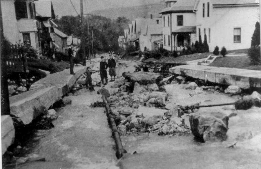 North Adams floods from the North Branch of the Hoosic River. The sewer pipes can be seen in the picture. The Blue Hill Observatory is hosting a commemorative event on the Hurricane of 1938 on Sept. 21. Click here for details