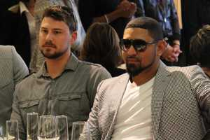 Red Sox catcher Ryan Lavarnway andFranklin Morales looking fashionable as they watch the show.