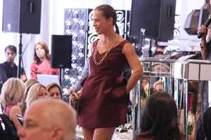 Jamie Niestat models another outfit for the crowd. She is the fiancee of Ryan Lavarnway.