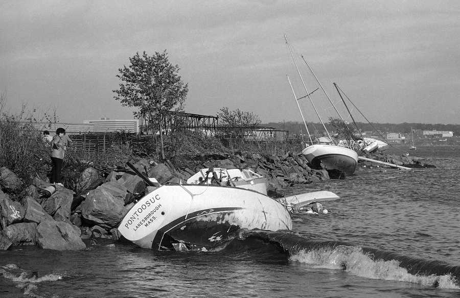 These boats broke from their moorings and were blown onto rocks in New London, Connecticut on Friday, Sept. 27, 1985, during Hurricane Gloria. Winds of more than 90 miles per hour battered Connecticut's coast during the storm, but damage was minimal.