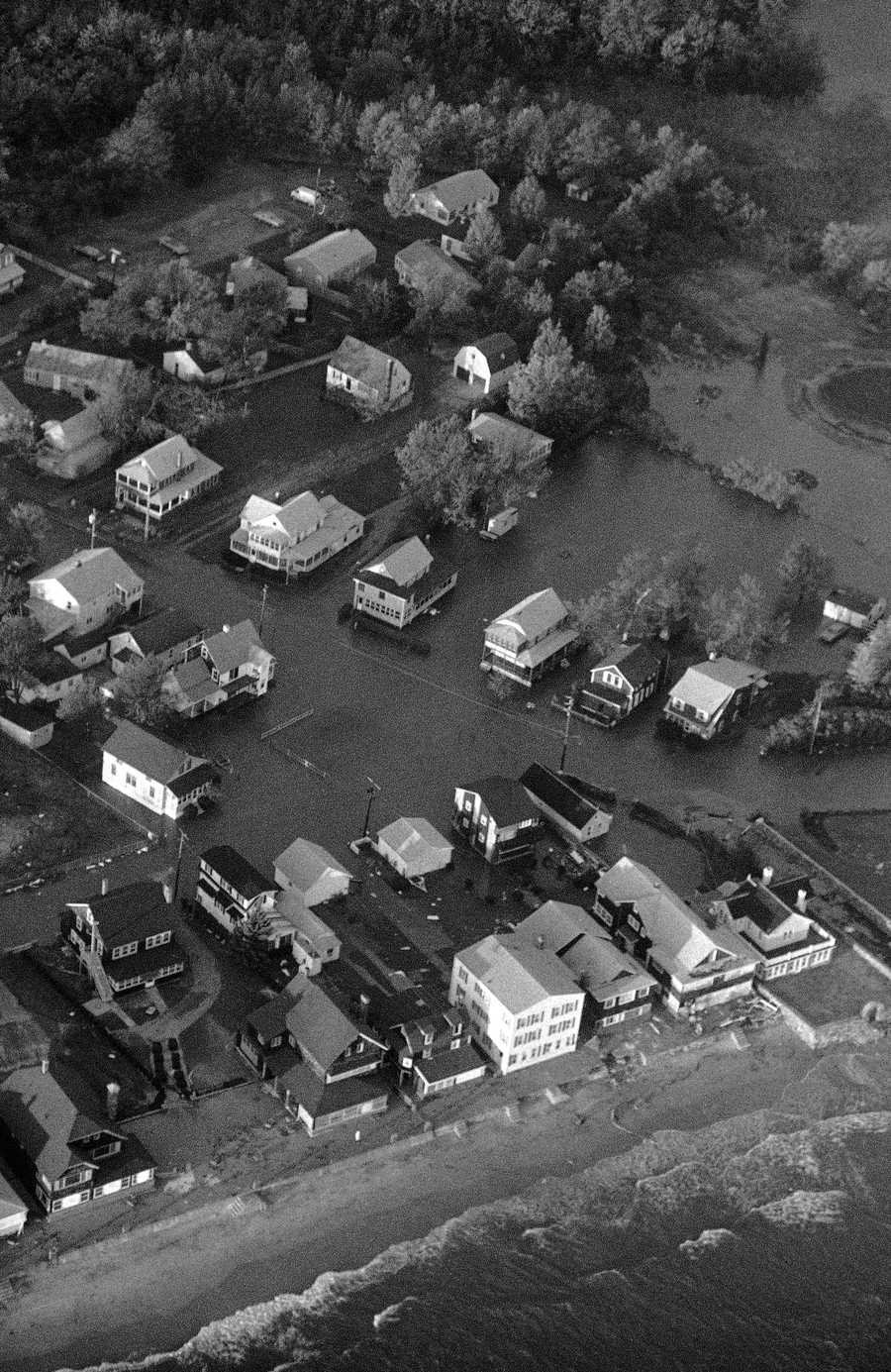 Water surrounded some houses along the shore in Westbrook, Connecticut on Friday, Sept. 28, 1985, after Hurricane Gloria hit Connecticut with winds in excess of 90 mph. The storm caused flooding in low-lying areas along the Connecticut shore.