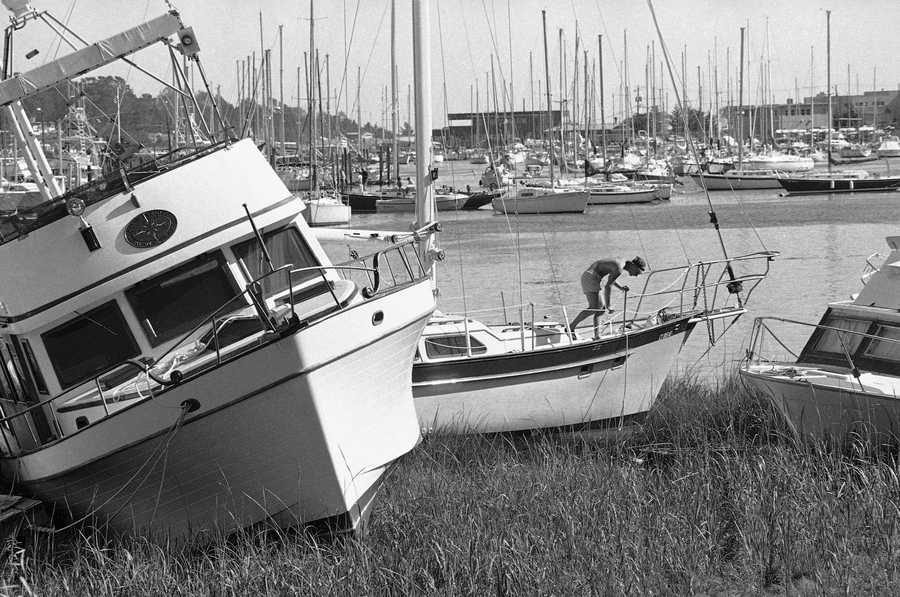Boats lie on the shore in Milford harbor on Sunday, Sept. 29, 1985, two days after Hurricane Gloria hit Connecticut. The same thing happened to boats all along the Connecticut more as they were torn from moorings by the hurricane winds in excess of 90 mph.