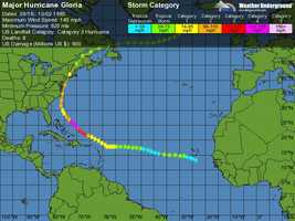 It formed on Sept. 16 in the eastern Atlantic Ocean. After remaining a weak tropical cyclone for several days, Gloria intensified into a hurricane on Sept. 22 north of the Lesser Antilles.