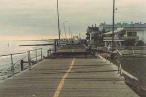 Overall damage was estimated at $900 million, and there were eight deaths. Boardwalk damage in Ocean City, New Jersey.