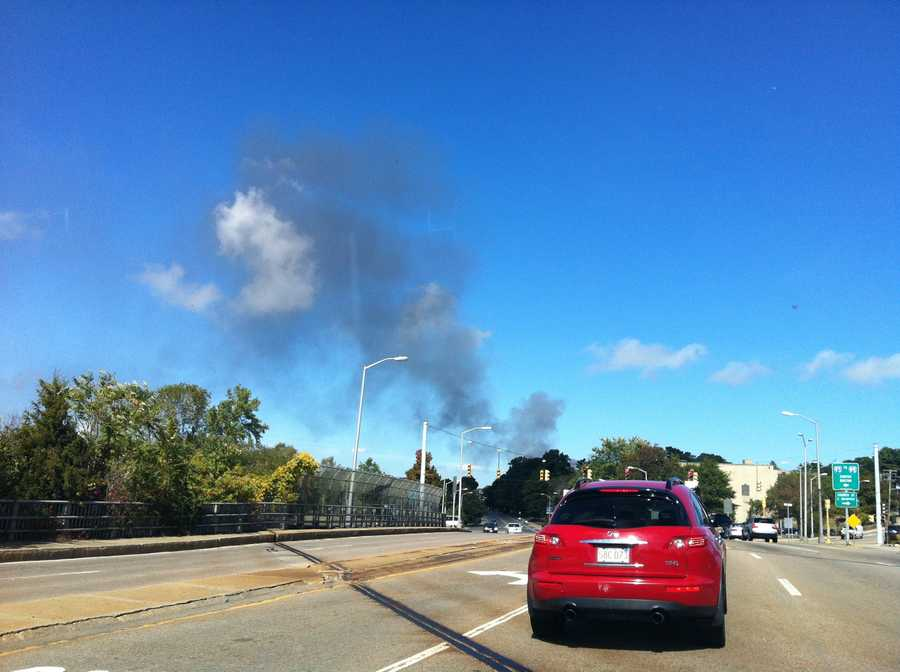 A look at the smoke coming from the fire from a few miles away.