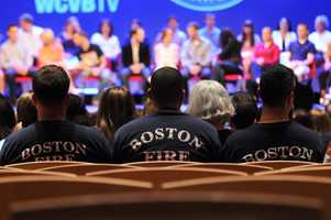 """Marking six months since the Boston Marathon bombing, WCVB-TV brought survivors, first responders and civilian heroes together at Northeastern University. """"Boston Strong Reunited"""" airs on Oct. 14 at 7 p.m. on WCVB-TV, Channel 5."""