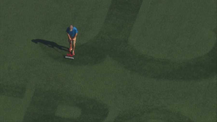 Sky 5 spotted the landscaping team doing work on the logo Wednesday morning.