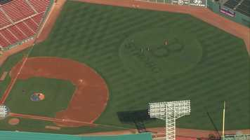 The Fenway Park outfield grass received a bit of a makeover for the Boston Red Sox American League Divisional Playoff series.See Sky 5 video of the logo