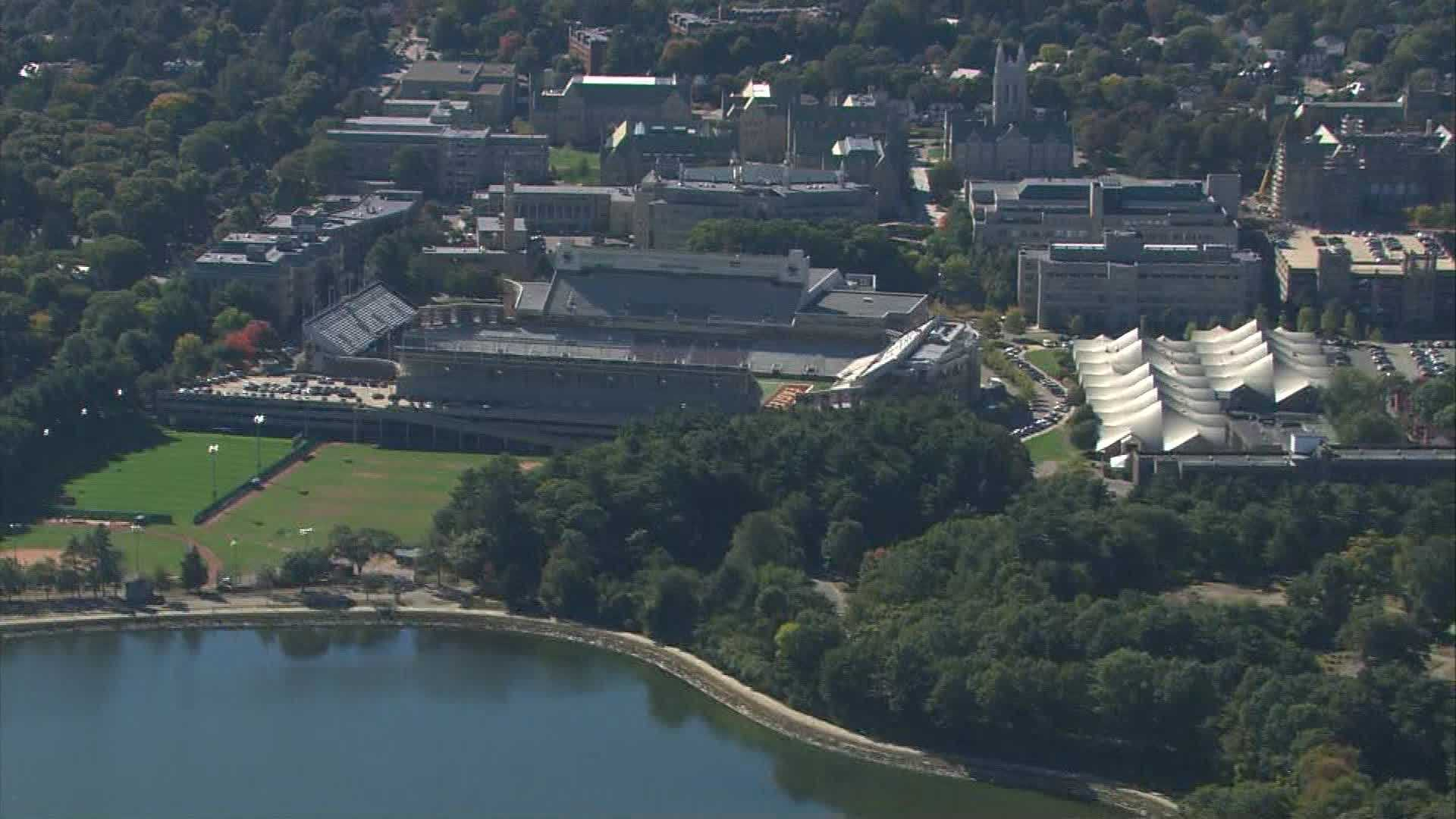 Boston college campus, football