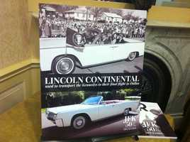 The 1963 Lincoln continental shown in this picture was the one that drove the Kennedys to Forth Worth airport enroute to Dallas. The actual car will be auctioned.