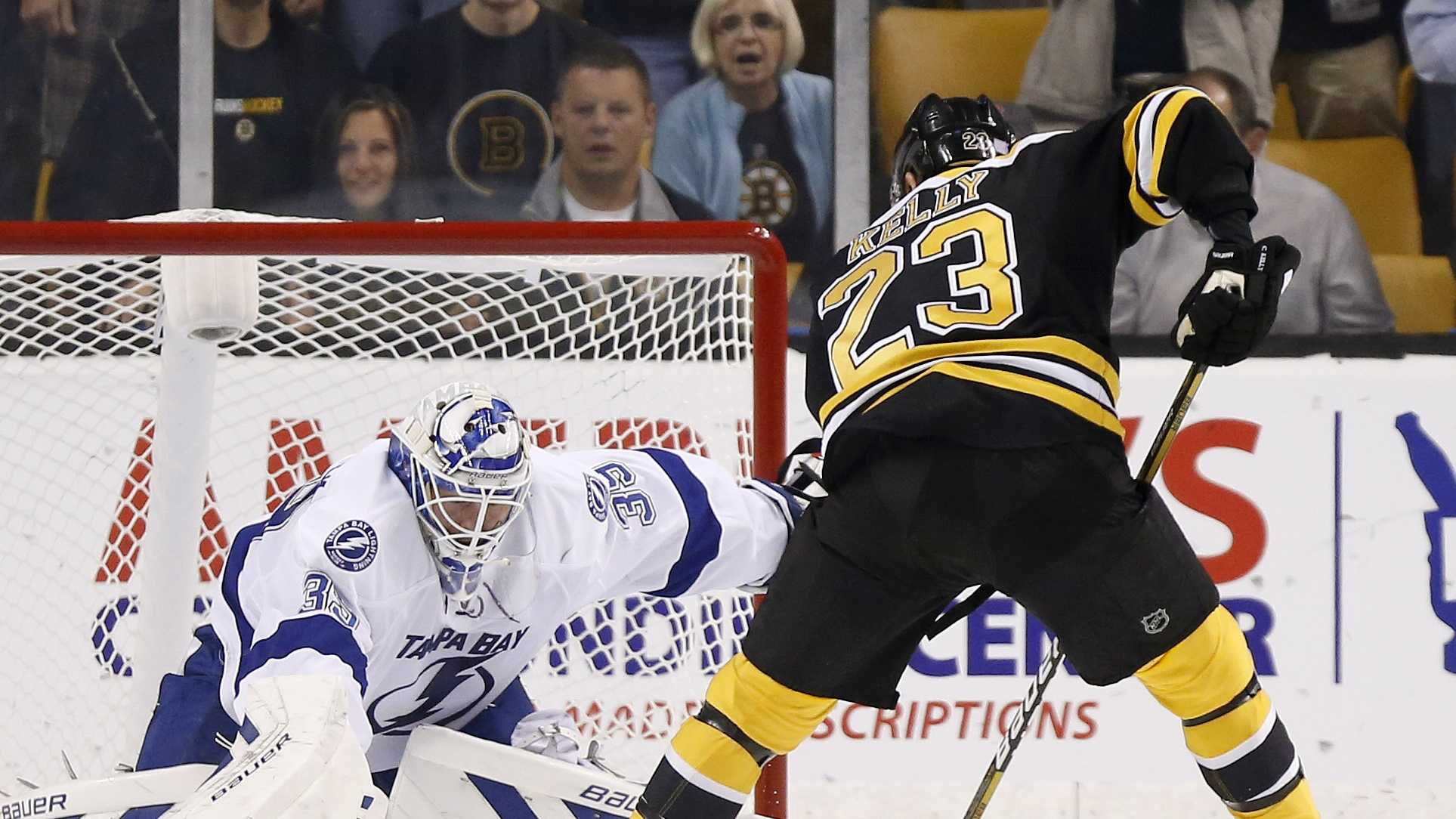 Boston Bruins' Chris Kelly (23) sets up to score on a penalty shot against Tampa Bay Lightning's Anders Lindback in the first period of an NHL hockey game in Boston, Oct. 3, 2013.