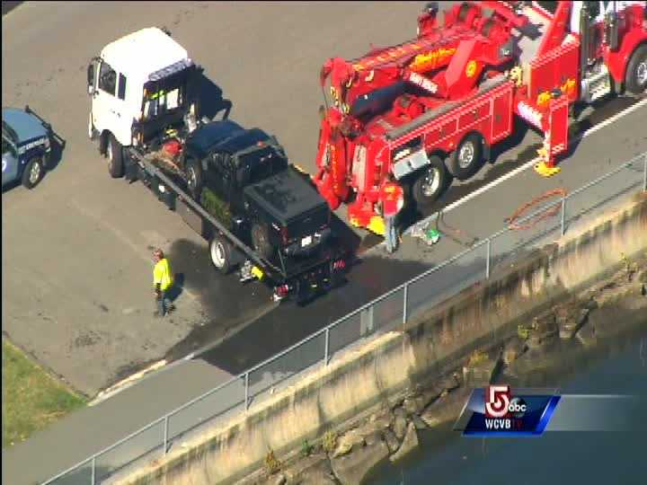One person is rescued from a vehicle that crashed into Lake Whalom Tuesday morning.