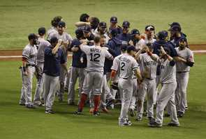 Boston Red Sox players celebrate.