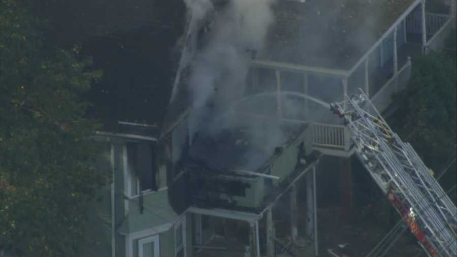 White smoke could be seen billowing out the windows.