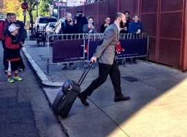 Dustin Pedroia arrives at Fenway as the team prepares to head to Detroit.