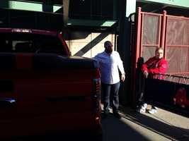 Jonny Gomes arrives at Fenway with his pickup truck.